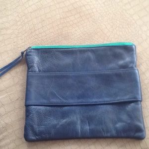 Handbags - LEATHER NAVY CLUTCH W/ROYAL COTTON LINING